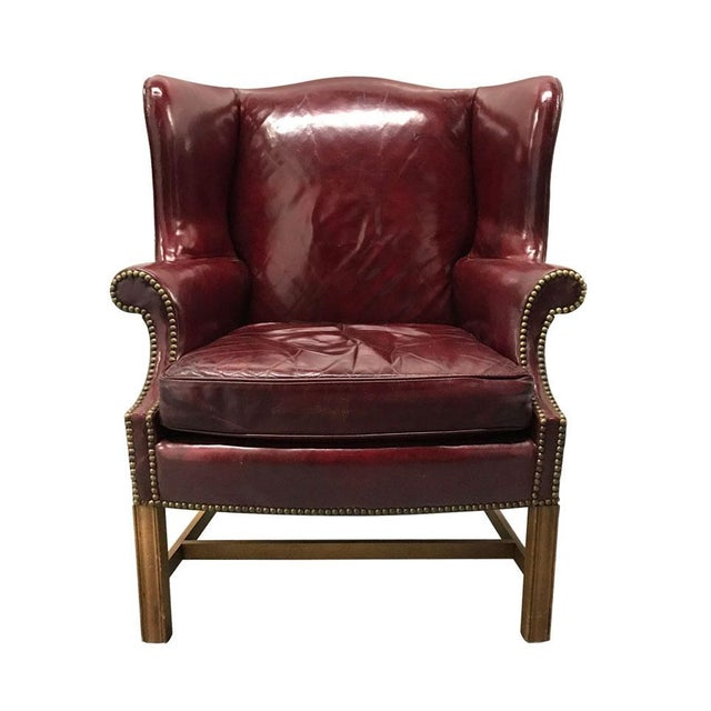 Animal Skin Vintage Leather Wingback Chairs — a Pair For Sale - Image 7 of 13