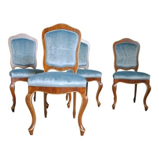Early 20th Century Antique Teal Velvet Dining Chairs - Set of 4 For Sale