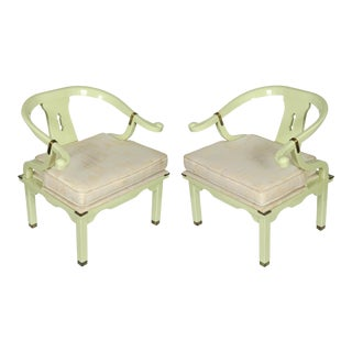 Celadon Lacquered Mid Century James Mont Style Ming Chairs For Sale
