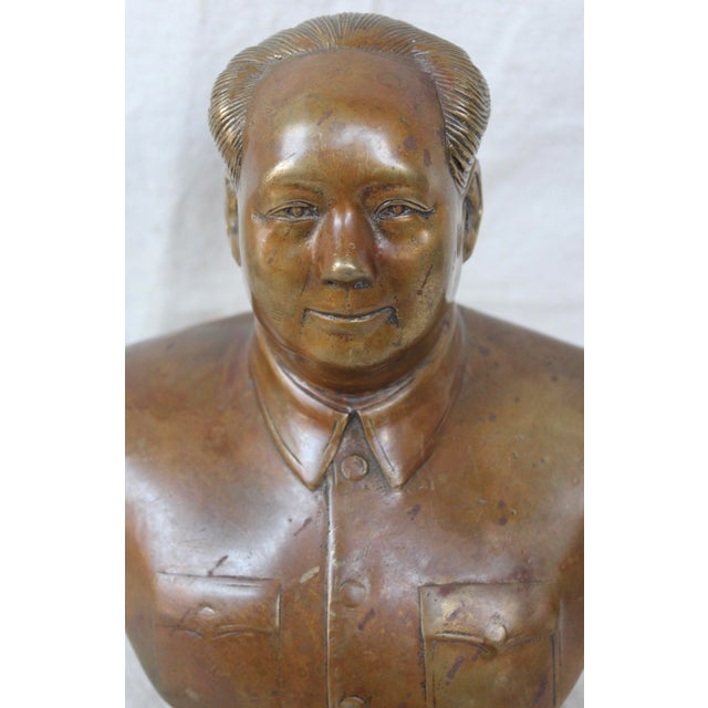 Asian Vintage Chinese Bronze Bust of Chairman Mao For Sale - Image 3 of 6