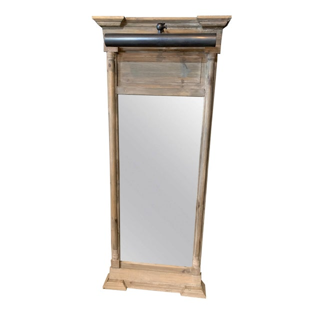 Rustic Classic Pillar Mirror With Light For Sale - Image 3 of 3