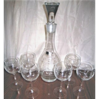 Nautical Etched Ship on Crystal Bar Glass Decanter & Wine Glasses - Set of 7 Preview