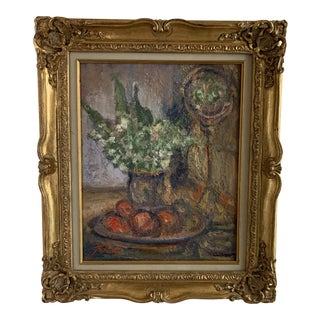 Early 20th Century Tabletop Still Life Vase of Flowers, Globe and Fruit Oil Painting, Framed For Sale