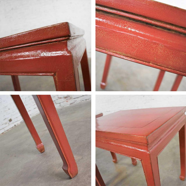 Red Mid 20th Century Asian Ming Style Chinese Crackle Red Lacquer Rectangular End Tables - a Pair For Sale - Image 8 of 13
