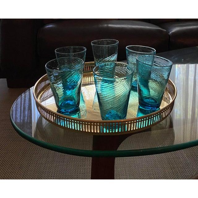 Artisan crafted, set of six handblown unique set of swirled aqua cocktail glasses.