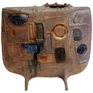 Extraordinary Studio Pottery Geometric Carved Vessel Vase Signed Large Sculpture For Sale