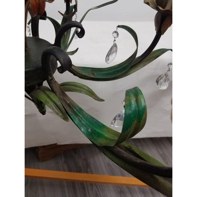 Vintage Pair of Hanging Colorful Leaf/Frond Lights - Flush Mount Ceiling For Sale - Image 12 of 13