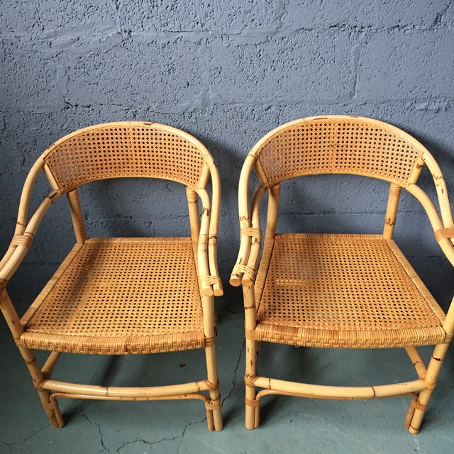 Bamboo and Cane Dining Chairs - Set of 4 - Image 5 of 11