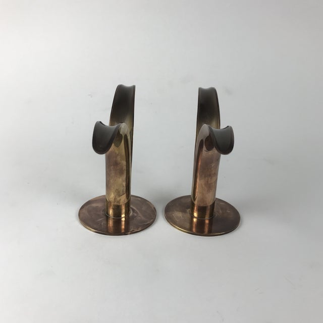 """1960s Mid-Century Swedish Brass """"Lily"""" Candlesticks - A Pair For Sale - Image 5 of 9"""