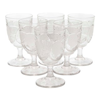 Victorian Blown Crystal Goblets by the Bryce Brothers Company Circa 1890s, Set of 6 For Sale