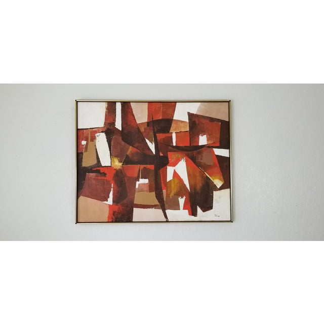 Mid-Century Modern Mid-Century Acrylic on Canvas Painting by Palilo. For Sale - Image 3 of 13