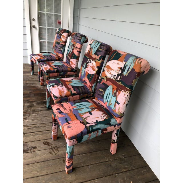 1980s Vintage Parsons Chairs Chairs Set of 8 For Sale - Image 5 of 7