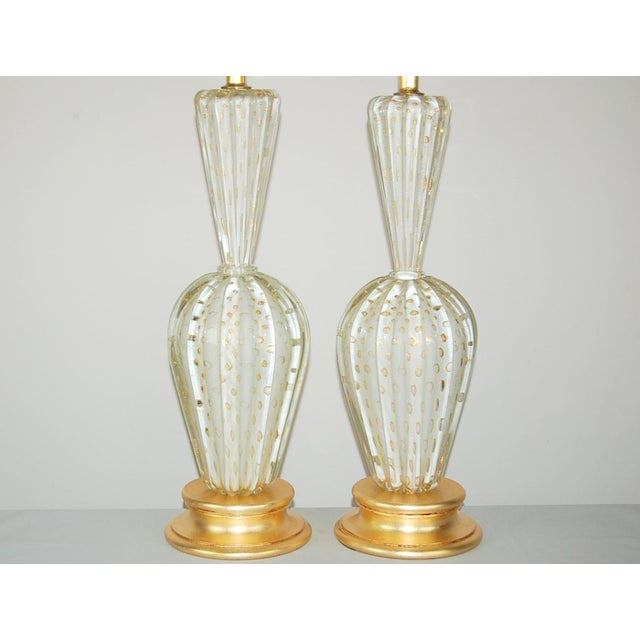 Contemporary Vintage Murano Glass Table Lamps White Bubbles For Sale - Image 3 of 13