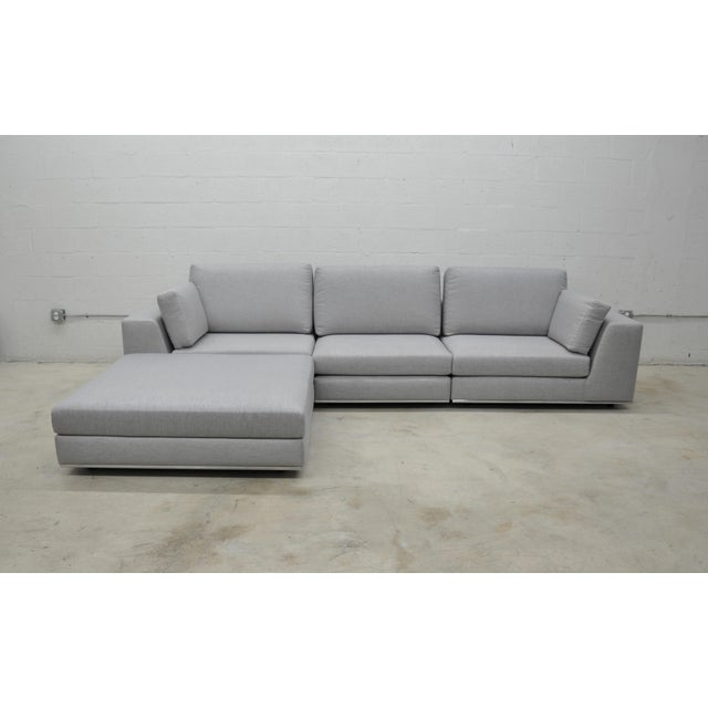 Metal Contemporary Gray Modular Sectional Sofa and Ottoman For Sale - Image 7 of 13