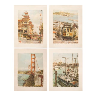 Rare 1968 San Francisco Sketches by Don Davey, Set of 4 For Sale