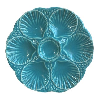 French Majolica Oyster Aqua Turquoise Plate Sarreguemines, Circa 1890 For Sale
