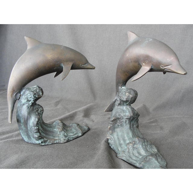 Nautical Cresting Wave Bronze Bookend Dolphins - Pair For Sale - Image 3 of 11