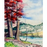 Image of Mini Watercolor Landscape Painting For Sale