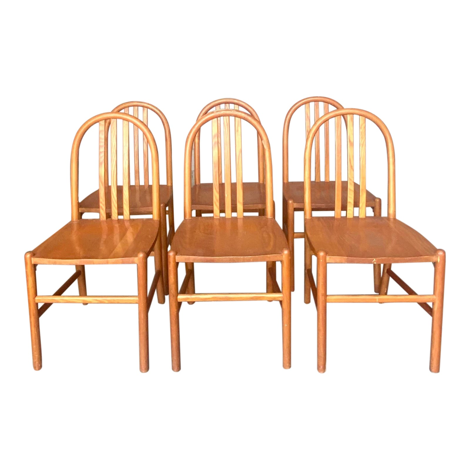 Midcentury Arch Back Dining Chairs After Robert Mallot Stevens Chairish
