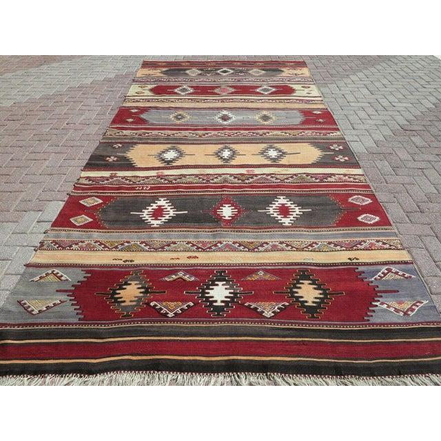 Mid-Century Modern 1960s Vintage Turkish Kilim Rug For Sale - Image 3 of 12