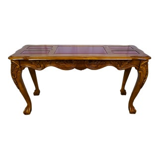 1950s French Style Art Nouveau Hand Carved Console Table For Sale