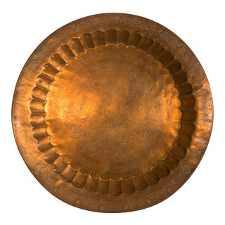 Vintage Round Copper Serving Tray For Sale