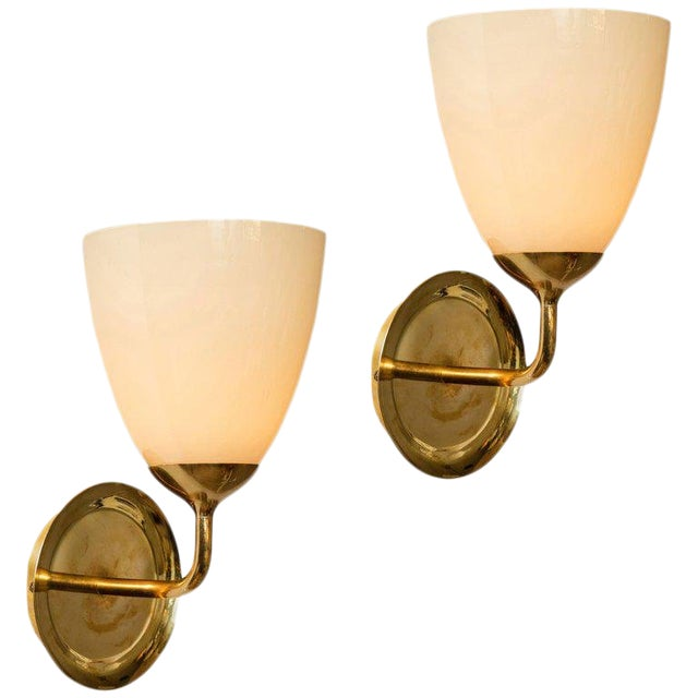 1950s Scandinavian Modern Paavo Tynell for Taito Oy Glass and Brass Sconces - a Pair For Sale