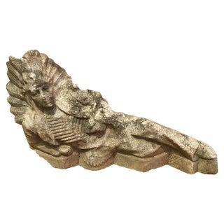 Antique Concrete Indian Chief Lawn Statue For Sale
