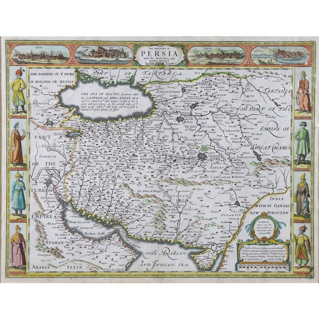 Framed hand colored map of Persia by John Speed. Nicely matted.