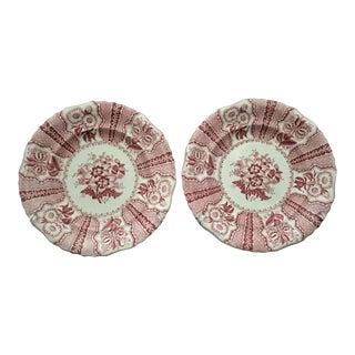 Joseph Heath & Co. Amaryllis Red & White Transferware Plates - A Pair For Sale