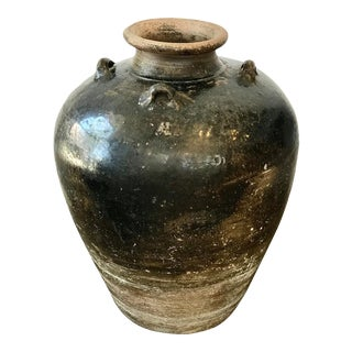 Tall 20th Century Vintage Spanish Olive Jar For Sale