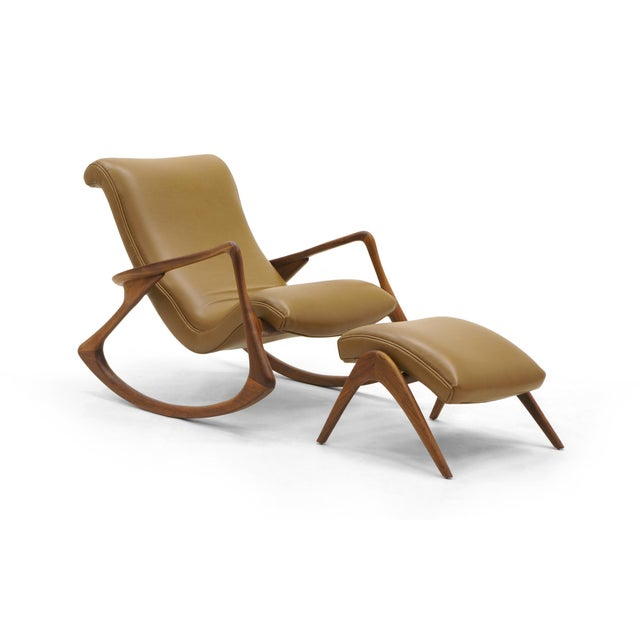 Vladimir Kagan Contour Rocker with Ottoman, Holly Hunt Leather, Excellent - Image 11 of 11