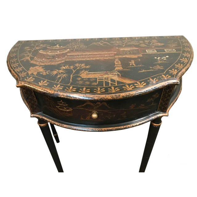 Chinoiserie Chinoiserie Demi Lune Table With Drawer For Sale - Image 3 of 5