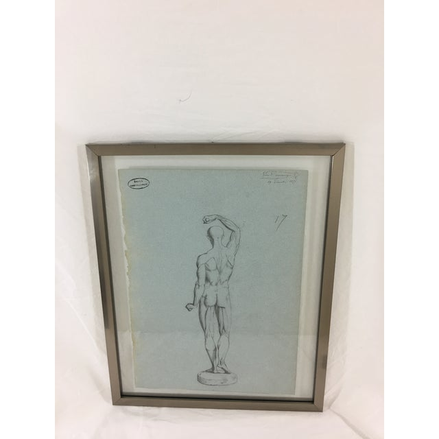 19th Century French Medical Drawing of Back of Male Figure For Sale - Image 6 of 6
