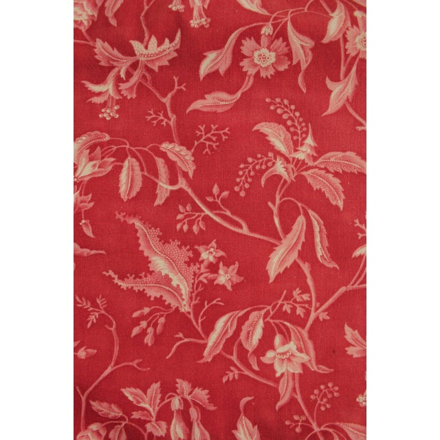 Antique French Pillement Inspired Red Resist Printed Textile Fabric With Ticking For Sale - Image 4 of 10