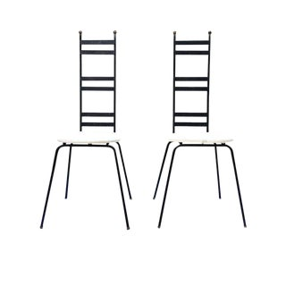Mid Century Modern High Back Side Chairs Wrought Iron Bistro Chairs - a Pair For Sale