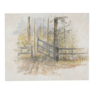 1920s Impressionist Miniature Watercolor by Harnett For Sale