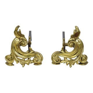 "10"" Antique Pair of Brass Cast Iron Small French Nouveau Rococo Chenets Andirons For Sale"
