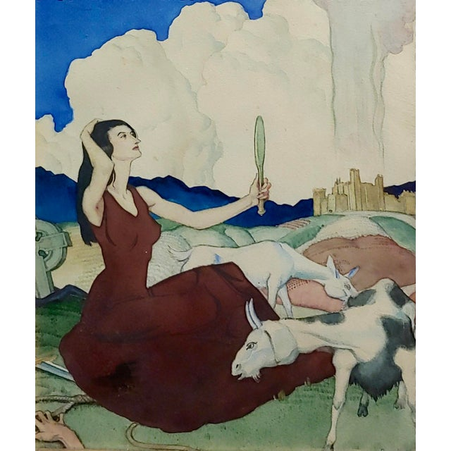 Country Paul Julian - Pretty Woman in a Surreal Background -1930s Painting For Sale - Image 3 of 10