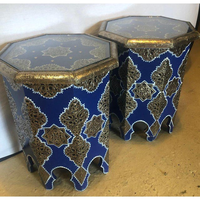 Moroccan Moroccan Silver Metal Brass Inlaid Side Tables - a Pair For Sale - Image 3 of 13