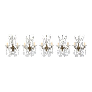 Set of 5 French Crystal and Brass Sconces For Sale