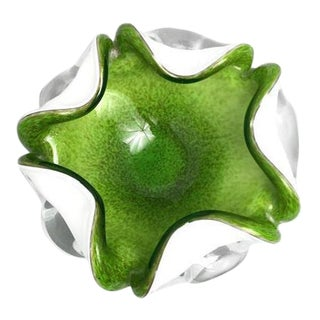 1950s Vintage Murano Fratelli Toso Chartreuse Glass Dish For Sale