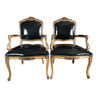 Faux Leather Black & Plaid Fauteuils, Pair For Sale