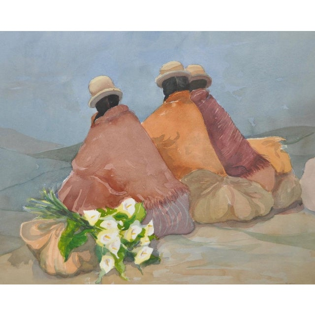 Impressionism Latin American Women & Calla Lilies Original Watercolor Painting by Sabrine For Sale - Image 3 of 7