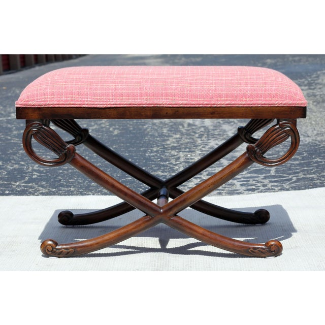 Textile Carved Wood Sword Leg Bench With Pink Upholstery For Sale - Image 7 of 7