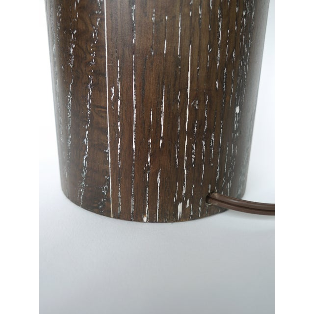 Nessen Studios Brown Cerused Oak Lamps - A Pair - Image 8 of 10