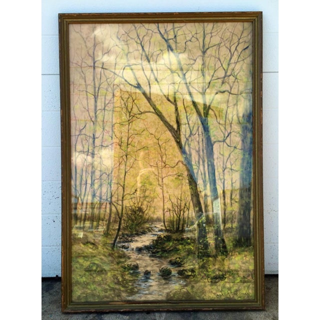 1948 Original Forest Watercolor Painting - Image 2 of 6