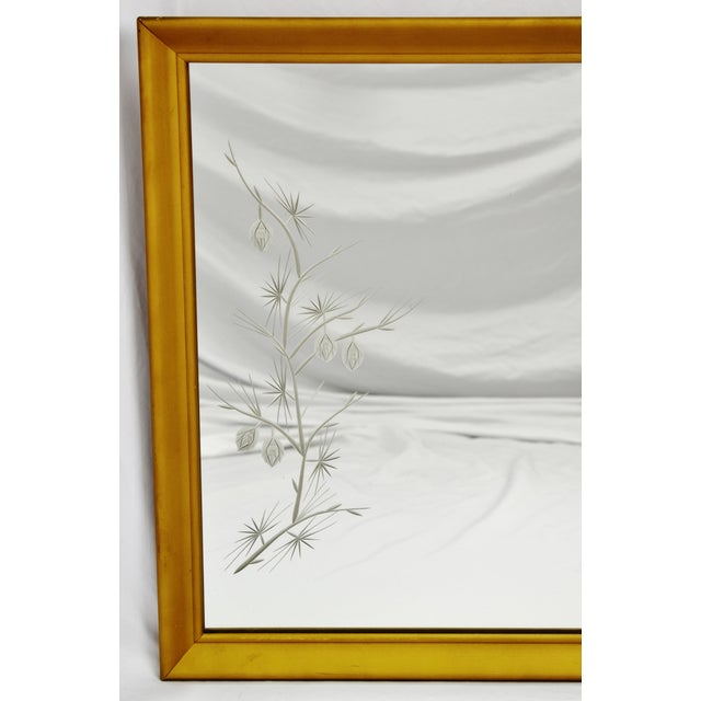 Mid 20th Century MCM Gold Gilt Framed Etched Glass Wall Mirror For Sale - Image 5 of 13