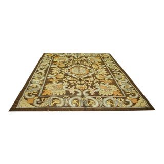 """Antique Spanish Savonnerie Rug-8'8'x11'6"""" For Sale"""