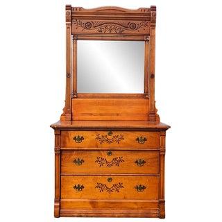 Antique Eastlake Victorian Birds Eye Maple Dresser For Sale
